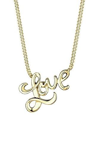 Elli pREMIUM chaîne pour femme avec pendentif inscription love or jaune 375 partiellement 0109552914_45