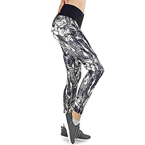 BOLUOYI Damen Yogahose Mesh Gym Leggings Bauchkontrolle Workout Laufhose XL Grau