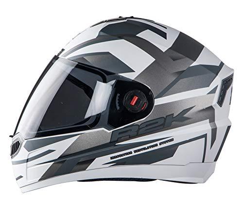 Steelbird SBA-1 R2K Full Face Helmet (Matt White and Grey, M)