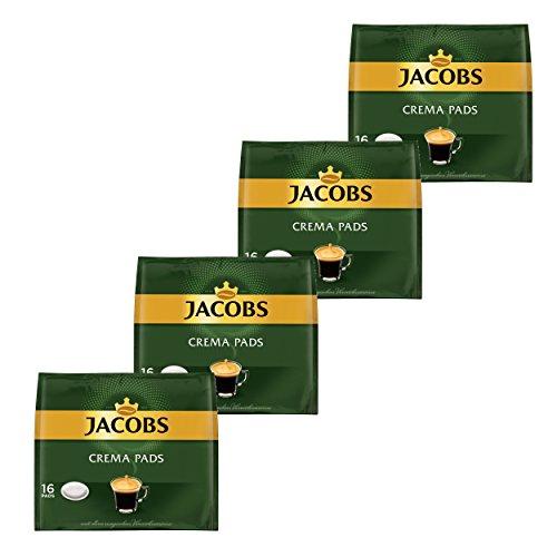 Jacobs Kaffeepads Crema Pads, Klassisch, Samtiger & Weicher Geschmack, Kaffee, 64 Pads