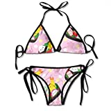 Pillowcase shop Happy Bento Box Pink Women Bikini Sets Beach Triangle Swimwear Bathing Suit Two Piece