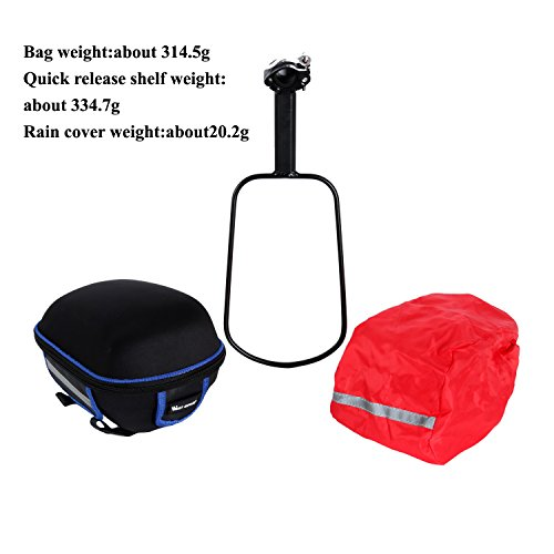 West Biking Outdoor Fahrrad & MTB Satteltasche Back Seat Schwanz Tasche + Reflektierende Streifen Paket + Regen Cover Schwarz mit Grün Black-Blue