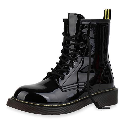 SCARPE VITA Damen Stiefeletten Worker Boots Profilsohle Stiefel Outdoor Schuhe 173514 Schwarz Lack 41