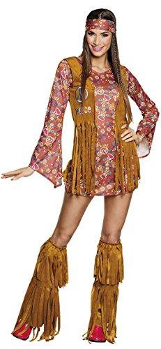 Halloweenia Hippi Boho 70er Jahre Kostüm mit Stulpen Kleid Weste Haarband Fransen, S/M, Braun