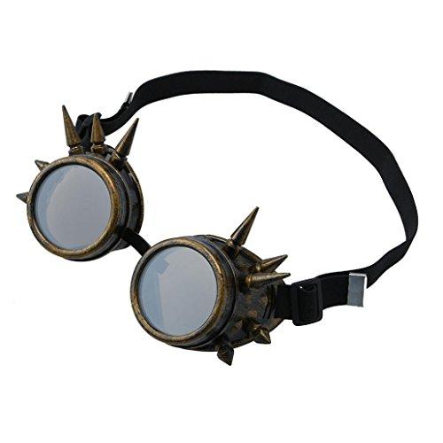 Oyedens 1pcs Victorian Vintage Steampunk Schutzbrillen Cosplay Punk Gothic Brille (Braun)