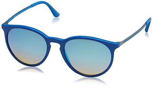 RAYBAN JUNIOR Unisex-Erwachsene Sonnenbrille Erika, Shiny Blue/Mirrorgradientgrey, 53