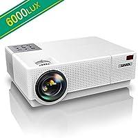 """Proiettore, YABER 6000 Lumen Videoproiettore 1080P Nativa (1920x1080) ±45° Trapezoidale Correzione Led Full Hd 300"""" Videoproiettore Domestico Per Iphone, Smartphone, Pc, Tvbox, Laptop, Ps4"""