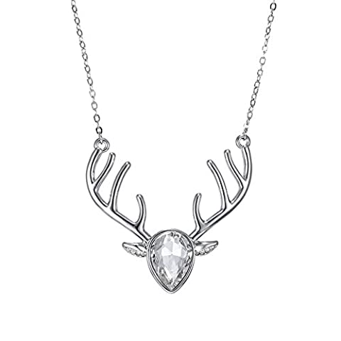 eManco Silver Statement Deer Antler Cute Animal White Cyrstal Pendant Necklace for Women Fashion