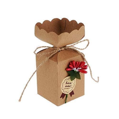 Flowow 50pcs fiore rosso stile vaso scatola portaconfetti scatolina portariso bomboniera segnaposto per matrimonio compleanno battesimo comunione nascita natale