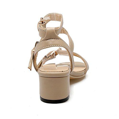 SK Studio Damen Elegant Sandalen Frauen Blockabsatz Offen Schuh Kreuz Knöchel Riemen Mid Heel Sandalen Schuhe Khaki