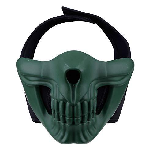 Erwachsene Mann Für Green Kostüm - Alexsport Halbmaske, untere Gesichtsmaske für Airsoft Paintball Shooting Halloween Cosplay Kostüm Party und Film Requisiten, geeignet für Männer und Frauen, von Teenager bis Erwachsene, 2-Green