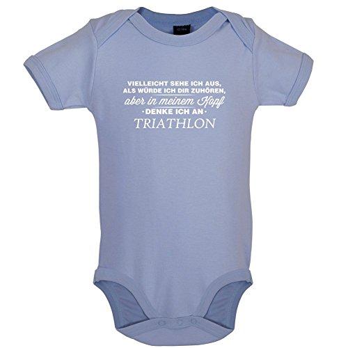 Dressdown Vielleicht Sehe ich aus als würde ich dir zuhören Aber in Meinem Kopf denke ich an Triathlon - Lustiger Baby-Body - Taubenblau - 12 bis 18 Monate