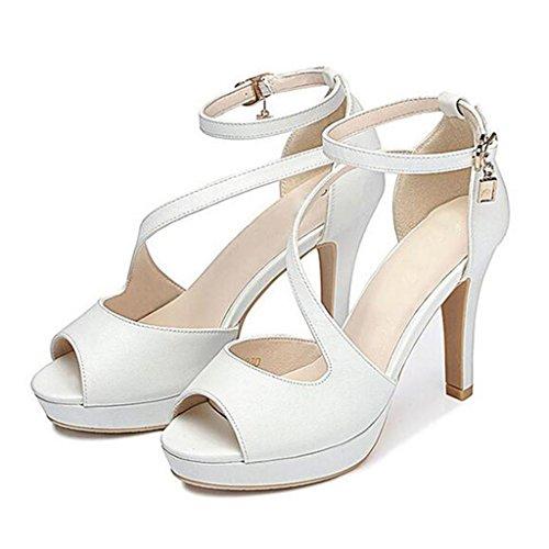 W&LM Signorina Tacchi alti sandali parola Fibbia Ok Bocca di pesce Piattaforma impermeabile Bocca poco profonda sandali White