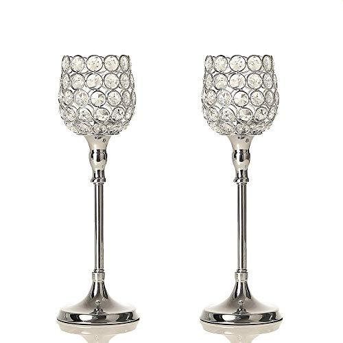 VINCIGANT Weihnachten 2 Pack Silber Kristall Klar Glas Teelichthalter Partylite Kerzenhalter Set für Hochzeit, Party, Hof, Garten und Weihnachten,33cm