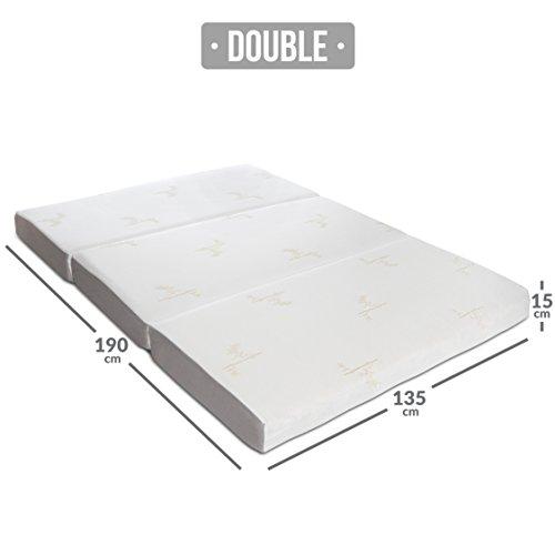 Milliard: colchón Plegable de Tres Partes, 15 cm de Profundidad, para huéspedes con Funda extraíble removible y Base Antideslizante - Doble (190 x 135 cm)