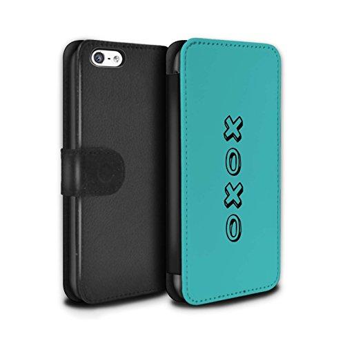 STUFF4 PU Pelle Custodia/Cover/Caso/Portafoglio per Apple iPhone 5C / Blu/Abbracci e Baci / Cuore XOXO disegno