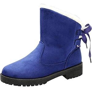 Winter Frauen Baumwollstiefel Krawatte Bogen Schnee Knöchel Kurze Stiefel Winterstiefel Warme Schuhe, Damen Plus Plüsch Futter Stiefeletten Schnürstiefeletten