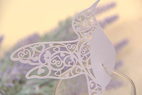 cs Bella Vogel fliegen Tasse des Wein-Glas-Papier für die Party/Dekoration der Tabelle/Home Decor Name Ort Karten [violett] weiß (Name Ort Karten)