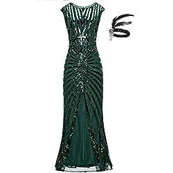 GUOCHU 1920 robe pour les femmes gatsby longue robe de soirée GA25 (S, Green)