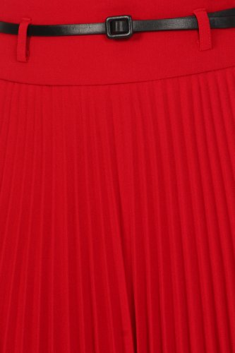 Gonna Sakkas con lunghezza a ginocchia e piegatura ad A con cintura sottile. Rosso