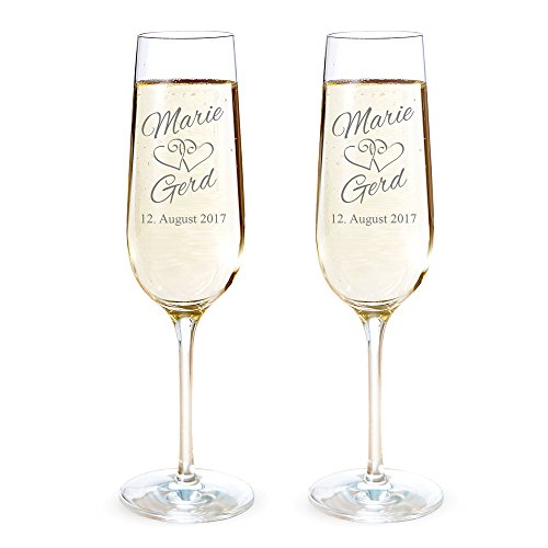 AMAVEL 2er Set Sektglas mit Gravur zur Hochzeit – Herzen – Personalisiert mit [NAMEN] und [DATUM] – Individuelle Sektgläser als Geschenk-Idee – Hochzeitsgeschenk – Füllmenge: ca. 0,2 l