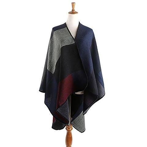 OME&QIUMEI Herbst Farbe Mantel Alle-Karierten Schal Schal C