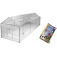 Cajou Freilaufgehege 330 x 103 x 103 cm Freigehege für Kaninchen, Hasen, Hühner Gehege Auslauf