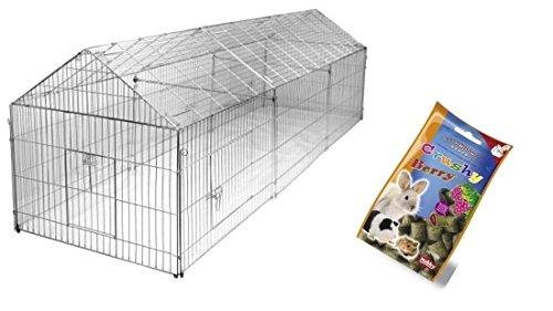 Freilaufgehege 330 x 103 x 103 cm Freigehege für Kaninchen, Hasen, Hühner Gehege Auslauf