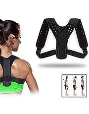 QUNPON Haltungskorrektur für Männer und Frauen, verstellbare obere Rückenstütze zur Unterstützung des Schlüsselbeins und zur Schmerzlinderung von Nacken, Rücken und Schulter (Black)