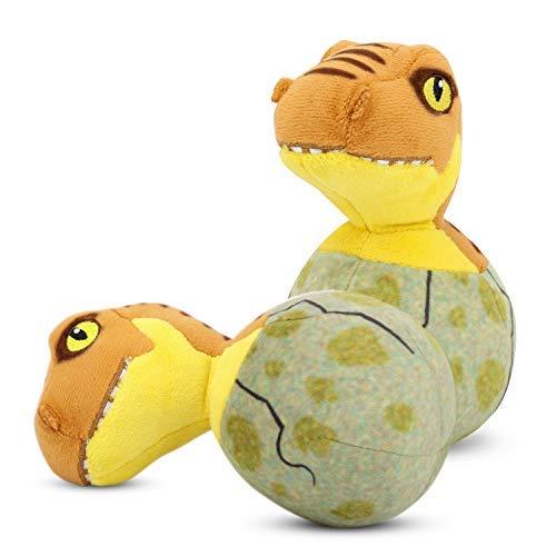 Pawaboo Plüsch Hundespielzeug Tierspielzeug, [2STÜCK] Gefüllte Plüsch Tierspielzeug Soft Dinosaurier- Baby Form Puppy Biss zu spielen Stofftier Spielzeug für Hunde, Katzen und Kinder, Braun