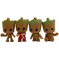 Kobwa Porte-clés, 4pcs Ange Figur Groot Baby Porte-clés, cadeau idéal pour ami, famille (groot)