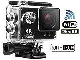 WITHTECH WiFi Cámara Deportiva Acción 1080P Full HD 2.0 LCD Pantalla Cámara Impermeable Baterías...
