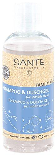 SANTE Naturkosmetik Family Kids Shampoo und Duschgel für sensible Haut, Speziell für Kinder, Pflegt die Haut, Reinigt sanft, Vegan, 200 ml