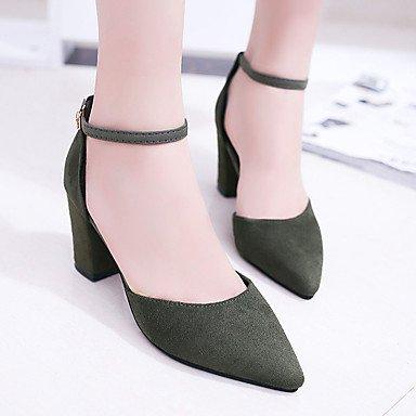 LvYuan Da donna Sandali PU (Poliuretano) Estate Formale Fibbia Quadrato Nero Grigio Verde 5 - 7 cm gray