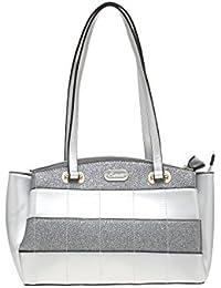 ESBEDA Light Grey Checkered Pu Synthetic Material Handbag For Women's