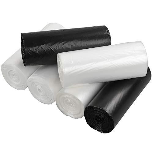 Ikando Nero Bianco Trasparente 6L Sacchi Sacchetti Spazzatura Immondizia, 150 Pezzi/6 Rotoli