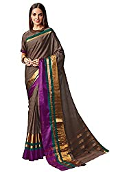 ishin Cotton Saree With Blouse Piece(Mfcs-Drisna_Beige Golden Free Size)