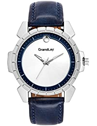 Grandlay mg-3077 white dial with blue strap stylish watch for menz