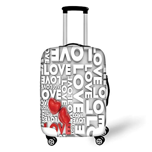 Travel Luggage Cover Suitcase Protector,Love Decor,Macro Big Love Texts Lettering Setting Passionate Emotions Feelings Sweetheart Design,Grey Red White,for Travel L