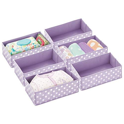 Mdesign set da 6 organizer per armadio pieghevole a pois - contenitore per cameretta, bagno, camera da letto ecc. - portaoggetti bimbo in fibra sintetica - lilla chiaro/bianco