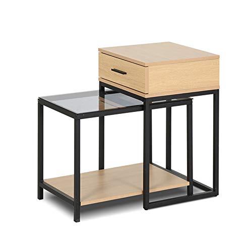FEI - Computer-Schreibtisch Nesting Table Set 2, 2-teilig Nesting Table Set mit Schublade für Sofa Wohnzimmer für alle Workstations (Farbe : Yellow - with Drawer) -