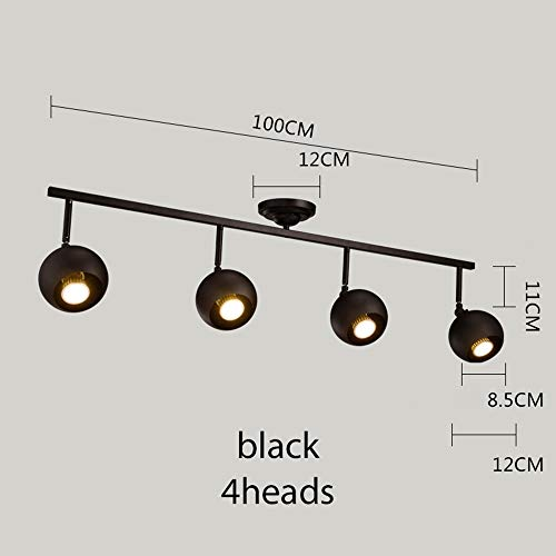 ZYTG Bar Lampe Decke Led Track Lampe Kreative Bekleidungsgeschäft Led Scheinwerfer Hintergrund Lange Weiß/Schwarz Deckenleuchten Scheinwerfer,Black 4Heads