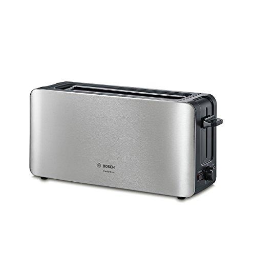 Bosch TAT6A803 - Tostador compacto, centrado automático del pan, función descongelación, 1.090 W, acero inoxidable/negro