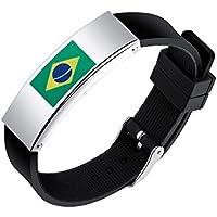 Shedeu drapeaux Coupe du monde de football ventilateurs mains Bracelets Coupe du monde de football Drapeau national Bracelet en silicone pour homme en alliage Bracelet Brésil