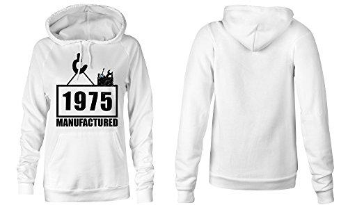 Manufactured 1975 - Hoodie Kapuzen-Pullover Frauen-Damen - hochwertig bedruckt mit lustigem Spruch - Die perfekte Geschenk-Idee (02) weiss