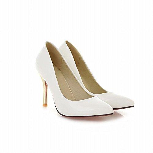 Mee Shoes Damen Stiletto Lackleder Geschlossen Pumps Weiß