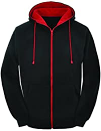 Contrast Black body and red zip varsity retro zip up hoodie, hooded sweatshirt zipper jacket