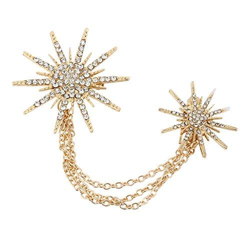Sharplace Herren Damen Brosche Strass Kette Kleid Ornament Gold Brosche mit Kette - Gold
