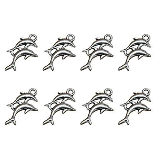 Tier Anhänger DIY Schmuckherstellung Zubehör für Halskette Armband (Silber) 80St ()