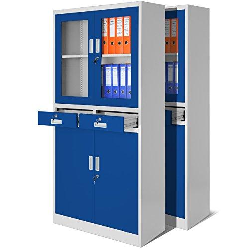 2er Set Aktenschrank mit Flügeltüren aus Glas, mit zwei Schubladen, Medizinschrank, Büroschrank, Stahlschrank, 4 Farben zur Auswahl (grau-blau)